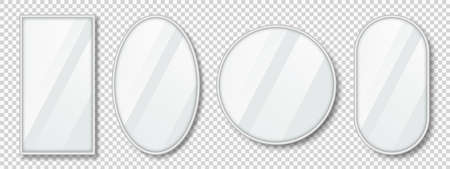 Set of mirrors with reflection in silver frame. Realistic mirrors with blurry glass effect. Mirror surface on transparent background. Vector 向量圖像