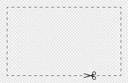 Cut lines and dashed lines, scissors icon. Cut line guide for coupon, tag and discount voucher. Black scissors with dotted line, paper cut guide. Vector