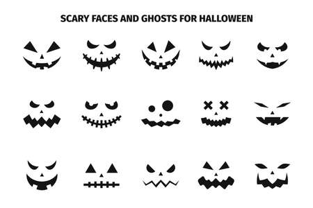 Scary faces and ghosts for Halloween. Scary Halloween pumpkin faces. Creepy and funny emoji of Halloween pumpkins. Vector 向量圖像