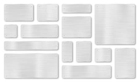 Set of metal plaques, banners and tags. Metal plate and plaque with realistic steel texture and scratches. Metal background with silver stainless texture. Vector 向量圖像