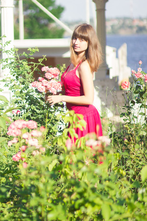 maxi dress: Portrait of a beautiful young woman with brown hair in red light dress  Girl in the garden with rose bushes