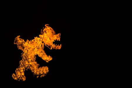 Fire in the form of a walking dog or beast. Fire flames on black background. fire on black background isolated. fire patterns.