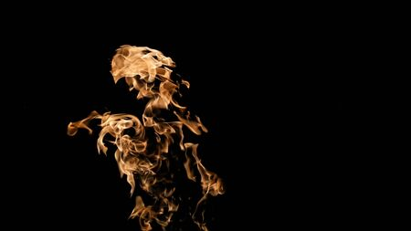 Fire flames on black background. fire on black background isolated. fire patterns