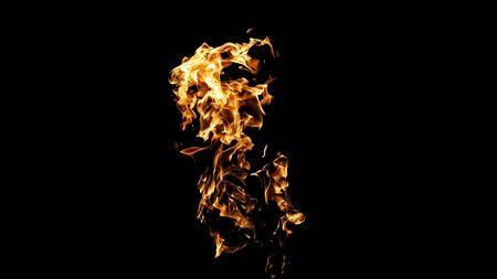Fiamme di fuoco su sfondo nero. fuoco su sfondo nero isolato. modelli di fuoco Archivio Fotografico