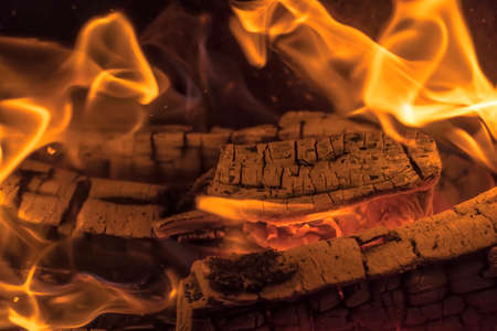 A blazing fire in the dark. Inflammation of firewood in the fire. A bright burning flames. Sparks and flames in the darkness. Red-hot heat and tongue flames. Fiery flaming bonfire.