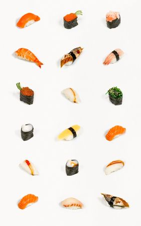 sushi plate: Sushi menu, isolated pieces