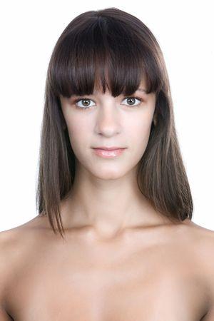 Beautiful woman portrait isolated on white background Stock Photo