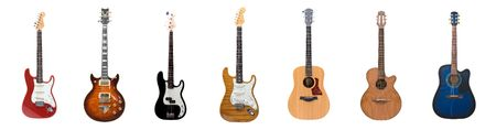 Seven different guitars for the price of one Stock Photo