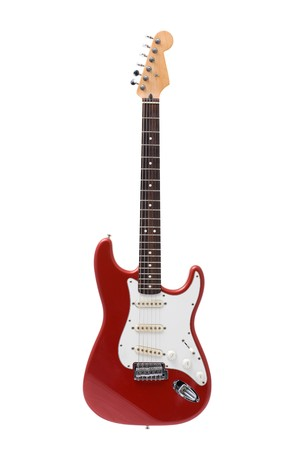 stratocaster: Red rock guitar isolated on white