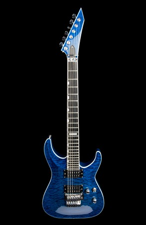 Blue rock guitar isolated on black Stock Photo