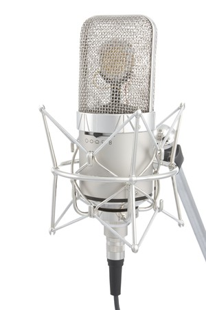 mc: Microphone on stand isolated on white Stock Photo