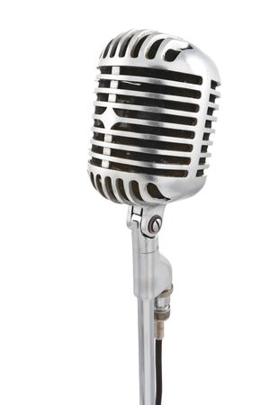 vintage microphone: Vintage microphone isolated on white Stock Photo