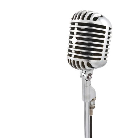 mc: Vintage microphone isolated on white Stock Photo