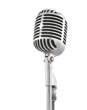 jazz background: Vintage microphone isolated on white Stock Photo