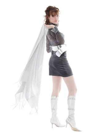 woman with sheer scarf posing, isolated over white