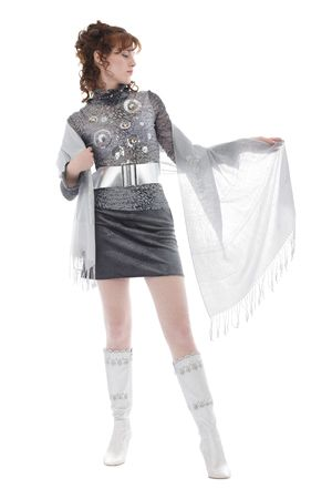 Woman with sheer scarf posing, isolated over white Stock Photo