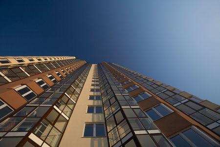 Unusual angle of building view Stock Photo