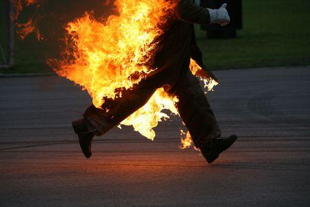 stunts: running stunt man on fire