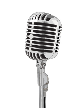 mike: Vintage vector microphone isolated on white