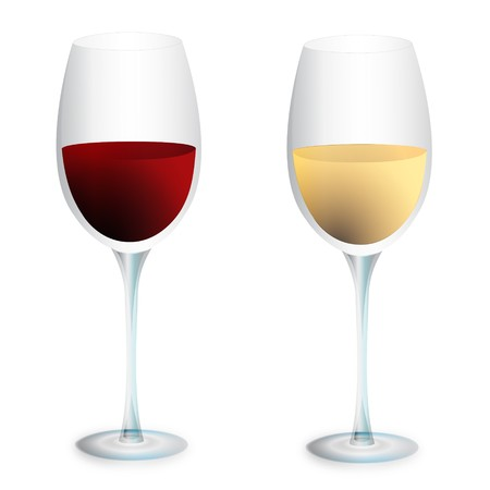 Red wine and white wine glasses