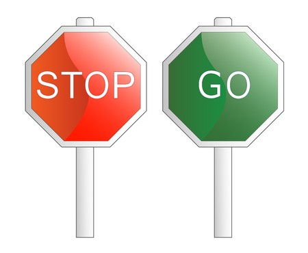 illustration. Stop and Go signs. Isolated on white. The different graphics are all on separate layers so they can easily be moved or edited individually. Illustration