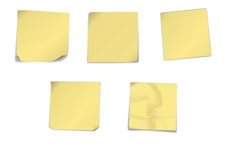illustration of yellow note papers in different condition isolated on white. The different graphics are all on separate layers so they can easily be moved or edited individually. Illustration