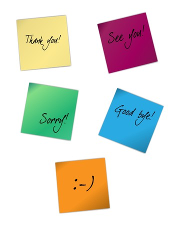illustration of different note papers with words isolated on white. The different graphics are all on separate layers so they can easily be moved or edited individually.