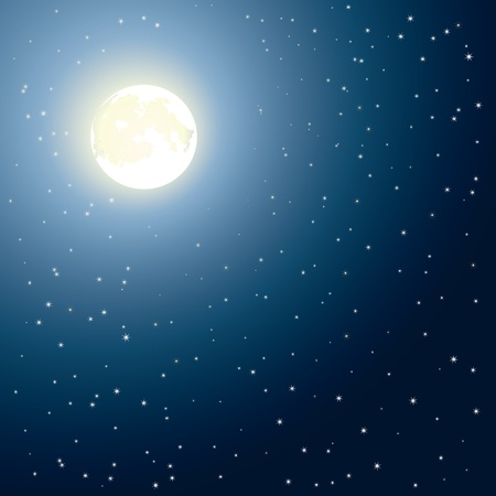 astral: Glowing moon in night blue sky