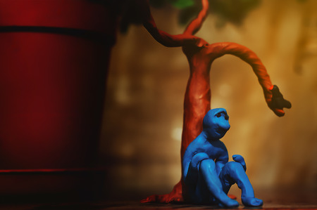 sad plasticine man who is looking for something in this life but can not yet find Stock Photo