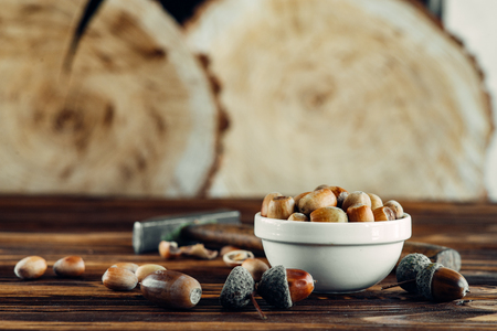 tasty fried hazelnut on wood sighting apetite very useful for winter
