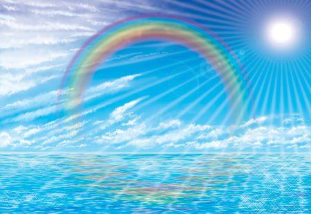 rainbow clouds: paradise landscape