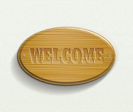 wood carving: welcome plate