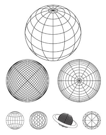 outline drawing: Illustrazione del profilo del globo Vettoriali