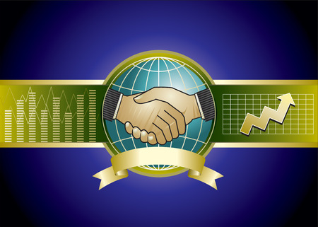 negotiations: de dise�o de dos empresarios apret�n de manos y de fondo Vectores