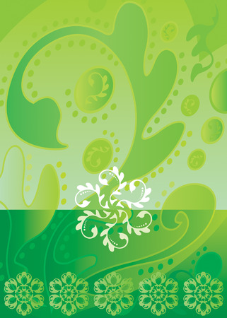 batik motif: vector file of green color Batik design Illustration