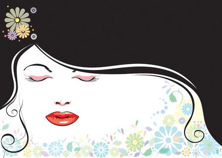 vector file of beautiful girl and black hair
