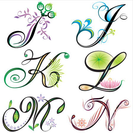 alphabets elements design -  series I to N Ilustrace