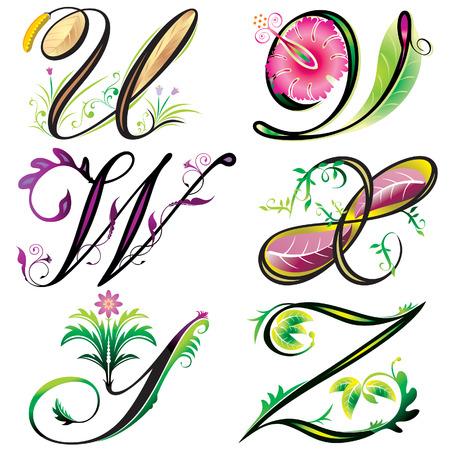 alphabets elements design -  series U to Z