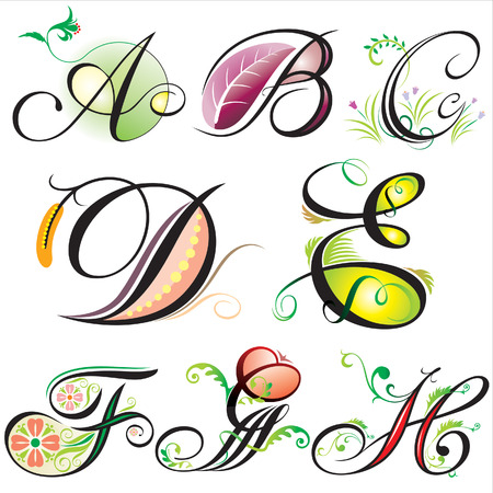 alphabets elements design -  series A to H Stock Vector - 2375155
