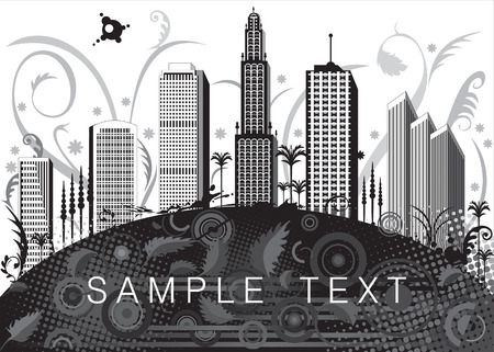 vector file of black and white city design Vector