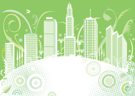 vector file of green color city design Vector