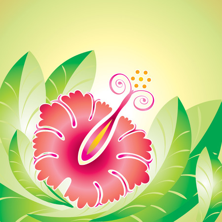 vector file of Hibiscus flower and leaf design Vector