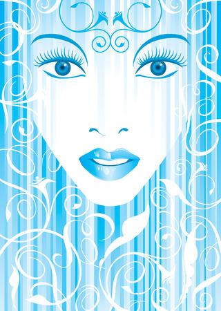 blue color vector file of glamor girl Vector