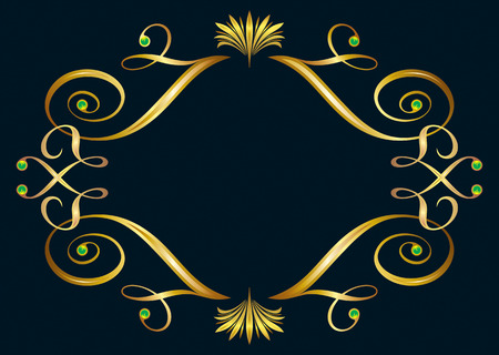 vector file of floral golden frame design Vector