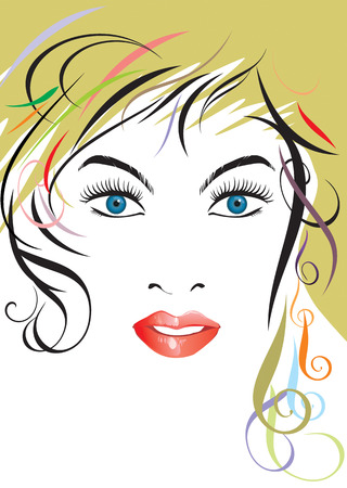 vector file of beautiful hairstyle lady face Stock Vector - 2598261