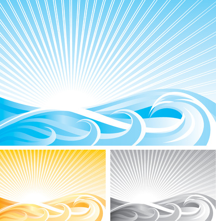 abstract wave background, vector file and three different color Vector