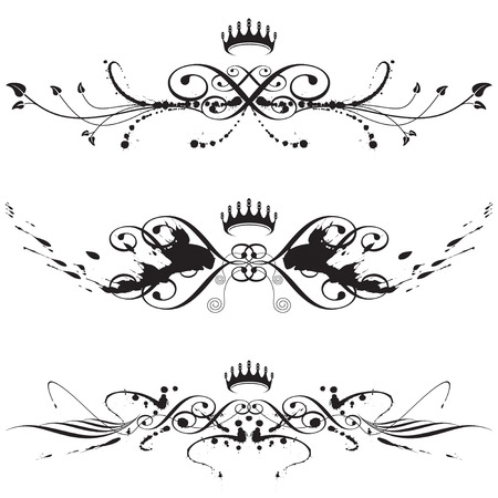 accents: fichero vectorial de elegante pincel con splash floral elemento  Vectores