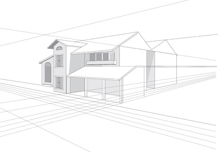 architect drawing: vector outline stroke file of building plan design