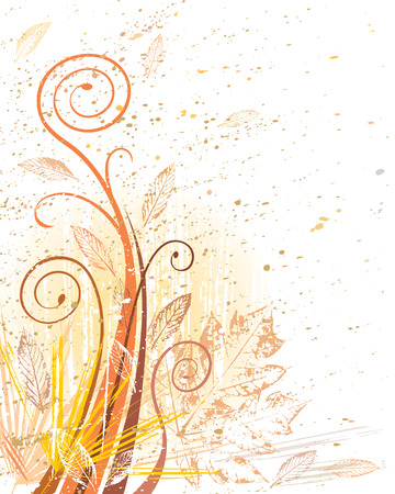 vector grunge file of autumn foliage design Ilustrace