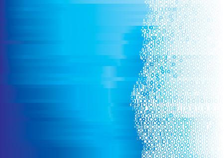 Vecteur fond de couleur bleue numérique binaire
